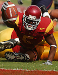 Reggie Bush stretches to try to get the ball into the endzone but comes up a bit shy against the Arizona Azcats on Saturday, October 8, 2005 at the Los Angeles Memorial Coliseum. USC defeated the Azcats 42-21.