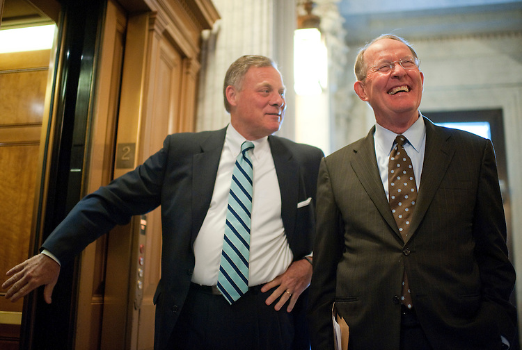 UNITED STATES - SEPTEMBER 20:  Senate Republican Conference Chairman Lamar Alexander, R-Tenn., right, talks to reporters in the Capitol as Sen. Richard Burr, R-N.C., looks on, after Alexander announced on the Senate floor that he will resign from his leadership post.  (Photo By Tom Williams/Roll Call)