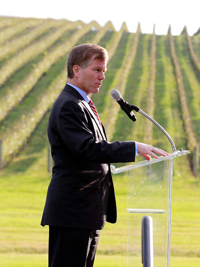 Oct. 04, 2011 - Charlottesville, VA. USA; Virginia Governor Bob McDonnell spoke during a press conference announcing the grand opening of Trump Vineyard Estates Tuesday in Charlottesville, Va. Trump purchased the foreclosed vineyard, previously owner by Patricia Kluge, at auction earlier this year. The 2,000 acre Trump Vineyard estate is also the home to Trump Winery, helmed by Donald's son Eric Trump.  (Credit Image: © Andrew Shurtleff)