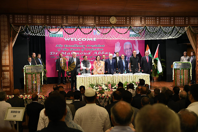 Palestinian President Mahmoud Abbas visits the Indian Islamic cultural center, in New Delhi, India, on May 15, 2017. Palestinian President Mahmoud Abbas is on a four-day state visit to India until May 17. Photo by Thaer Ganaim