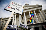 SACRAMENTO, CA - NOVEMBER 22:  Supporters of gay marriage rally on the steps of the State Capitol in Sacramento, California November 22, 2008. People across the country continue to protest the passing of California State Proposition 8 which makes gay marriage in California illegal. (Photo by Max Whittaker/Getty Images)