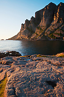 Rugged cliffs and coast at Bunes beach, Moskenesoy, Lofoten islands, Norway