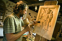 Antholz,  South Tyrol, June 2007. Traditional Woodcarver Josef bachmann. The Valley of Antholz is surrounded by mountains of over 3000 meters. South Tyrol used to be part of Austria until it became part of Italy after WWI. Photo by Frits Meyst/Adenture4ever.com