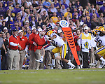 Ole Miss quarterback Bo Wallace (14) vs. LSU cornerback Jalen Collins (32) at Tiger Stadium in Baton Rouge, La. on Saturday, November 17, 2012. LSU won 41-35.....