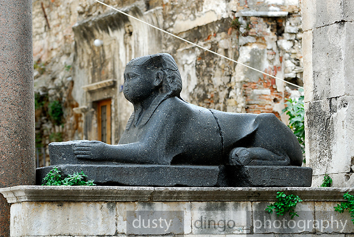 Black granite Egyptian Sphinx, in the Peristyle, Diocletian Palace, Split, Croatia
