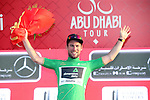 Mark Cavendish (GBR) Team Dimension Data wins Stage 1 Emirates Motor Company Stage and wears the points Green Jersey on the podium of the 2017 Abu Dhabi Tour, running 189km from Madinat Zayed through the desert and back to Madinat Zayed, Abu Dhabi. 23rd February 2017<br /> Picture: ANSA/Matteo Bazzi | Newsfile<br /> <br /> <br /> All photos usage must carry mandatory copyright credit (&copy; Newsfile | ANSA)