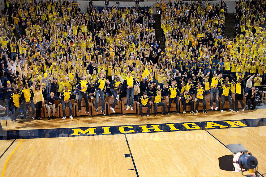 The University of Michigan men's basketball team and fans watch the NCAA Selection Show from Crisler Arena in Ann Arbor, MI, on March 13, 2011. The Wolverines were selected as the 8-seed in the West Region and will face Tennessee.