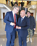 The Rev. Dr. Olav Fykse Tveit (left), the general secretary of the World Council of Churches, talks with Karim Singari, the interior minister of the Kurdistan region of northern Iraq, following the visit of an ecumenical delegation to Singari's office in Erbil on January 23, 2017.