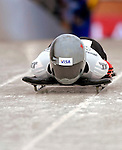 15 December 2006: Michelle Kelly, from Canada, starts her run at the FIBT Women's World Cup Skeleton Competition at the Olympic Sports Complex on Mount Van Hoevenburg  in Lake Placid, New York, USA. &amp;#xA;&amp;#xA;Mandatory Photo credit: Ed Wolfstein Photo<br />