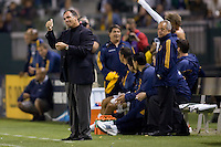LA Galaxy headcoach Bruce Arena gives the thumbs up to his players. The LA Galaxy defeated the Columbus Crew 3-1 at Home Depot Center stadium in Carson, California on Saturday Sept 11, 2010.