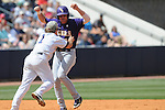 Mississippi's Zach Miller tags out LSU's Blake Dean and throws to first for a double play at Oxford-University Stadium on Sunday, April 25, 2010 in Oxford, Miss. Ole Miss won 7-6 to sweep the three game series