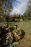 Near Alumim, Israel Dec. 30, 2008.An IDF armoured unit takes position in a field  just a few kilometers from the Gaza border. After several weeks of total closure, Israel has launched its most important military operation ever in the Gaza strip, following Hamas' refusal to extend the 6 months truce.