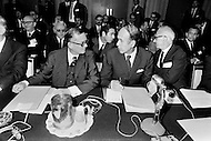 27 Sep 1971, Washington, DC, USA --- West German Finance Minister Karl Schiller with the French Finance Minister Valéry Giscard d'Estaing at a General Assembly of the International Monetary Fund (IMF) at the Sheraton Hotel in 1971. In July 1944, representatives from 44 countries assembled at Bretton Woods, USA agreed to create the IMF in order to stabilize the increasingly delicate world economy. In August 1971, American President Richard Nixon (1969-1974) scrapped the gold exchange standard, extending the life of the IMF but pushing it into a secondary role. Only at the beginning of the 1980s, following the crisis of the Third World debt, was the IMF called on again to play a major role in world economy. --- Image by © JP Laffont
