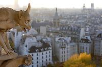 Chimera, overlooking the city, Notre Dame de Paris, 1163 ? 1345, initiated by the bishop Maurice de Sully, Ile de la Cité, Paris, France. Picture by Manuel Cohen