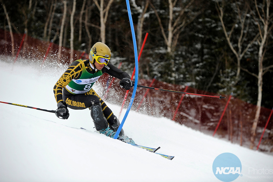 12 MAR 2011: Gabriel Rivas (8) of the University of Colorado competes in the men's slalom alpine race during the 2011 NCAA Men and Women's Division I Skiing Championship held Stowe Mountain Resort and Trapp Family Lodge in Stowe, VT. Rivas placed second to take silver. ©Brett Wilhelm/NCAA Photos