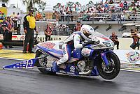 Mar. 17, 2013; Gainesville, FL, USA; NHRA pro stock motorcycle rider Hector Arana Jr during the Gatornationals at Auto-Plus Raceway at Gainesville. Mandatory Credit: Mark J. Rebilas-