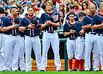 5 September 2011: Members of the Washington Nationals stand at attention during the performance of the National Anthem prior to a game against the Los Angeles Dodgers at Nationals Park in Los Angeles, District of Columbia. The Nationals defeated the Dodgers 7-2 in the first game of their 4-game series. Mandatory Credit: Ed Wolfstein Photo
