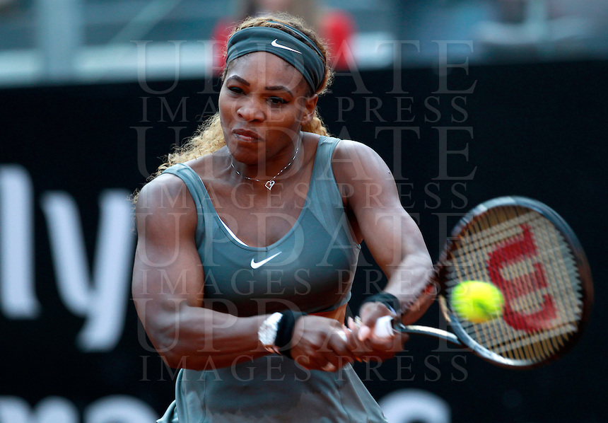 La statunitense Serena Williams agli Internazionali d'Italia di tennis a Roma, 17 maggio 2014.<br /> United States' Serena Williams during the Italian open tennis tournament, in Rome, 17 May 2014.<br /> UPDATE IMAGES PRESS/Isabella Bonotto