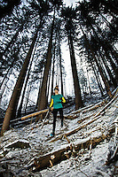 A runner descends a steep slope below the Glacier des Bossons in Chamonix, France