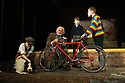 London, UK. 23.11.2012. GOODNIGHT MISTER TOM opens at the Phoenix Theatre. Picture shows: Oliver Ford Davies (Tom), Arthur Gledhill-Franks (William) and Joseph Holgate (Zach). Sammy the dog's puppeteer is Elisa de Grey. Photo credit: Jane Hobson.