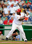 10 July 2008: Washington Nationals' first baseman Dmitri Young in action against the Arizona Diamondbacks at Nationals Park in Washington, DC. The Diamondbacks defeated the Nationals 7-5 in 11 innings to take the rubber match of their 3-game series in the Nation's Capitol...Mandatory Photo Credit: Ed Wolfstein Photo