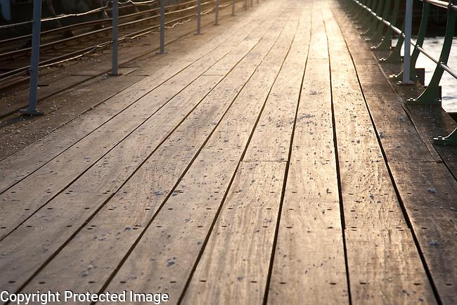 Wooden Pier Boards in Evening Sunlight, Line, Pattern,