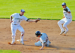 2 July 2011: Vermont Lake Monsters infielder Sean Jamieson gets a sliding Matthew Duffy out at second during a game against the Tri-City ValleyCats at Centennial Field in Burlington, Vermont. The Lake Monsters rallied from a 4-2 deficit to defeat the ValletCats 7-4 in NY Penn League action. Mandatory Credit: Ed Wolfstein Photo