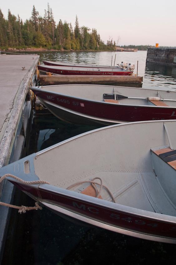 Marina at Rock Harbor at Isle Royale National Park.