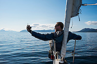Sailboat selfie while sailing off the coast of Vesterålen, Norway