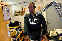 USA. Angola. 21st April 2008..Dj Carlwyn Turney, alias The Gospel Boy at the prison's radio station..©Andrew Testa