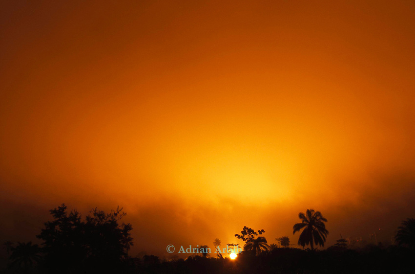 A Shell gas flare lights up the night sky in Ogoniland.  Many Ogonis have never seen total darkness in their whole lives.  Shell began operations in this region in the early 1960's and since then have never applied  the same health regulations that apply in  the West.