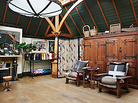 A studio/summer house in the garden doubles as an exhibition space