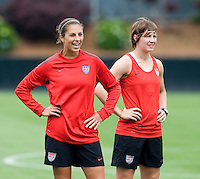 Carli Lloyd, Amy Lepeilbet. The USWNT practice at WakeMed Soccer Park in preparation for their game with Japan.
