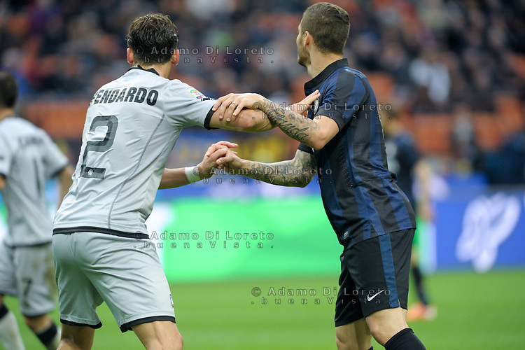Mauro Icardi (Inter) show the Wanda Tattoo during the Serie Amatch between Inter vs Atalanta, on March 23, 2014. Photo: Adamo Di Loreto/NurPhoto