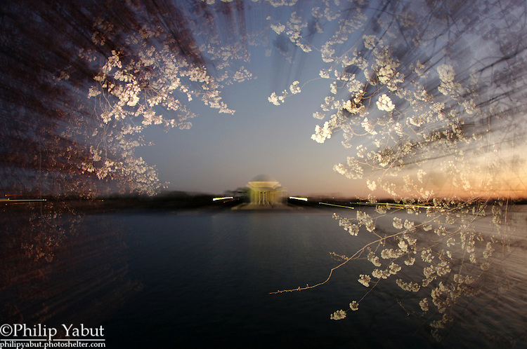 After sunset, the sky grants us brilliant colors to complement our views of DC's landmarks and cherry blossoms.