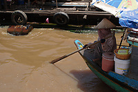 Mekong River<br /> , Cambodia - 2007 File Photo -<br /> <br /> fishing village woman on boat.   <br /> <br /> <br /> <br /> <br /> photo : James Wong-  Images Distribution