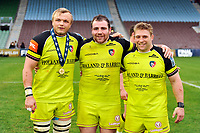 Luke Hamilton, Fraser Balmain and Tom Youngs pose for a photo after the match. Anglo-Welsh Cup Final, between Exeter Chiefs and Leicester Tigers on March 19, 2017 at the Twickenham Stoop in London, England. Photo by: Patrick Khachfe / JMP