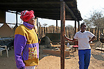 Africa, Namibia, Windhoek. Two of the women working at Penduka, a development cooperation organization in Namibia providing opportunity for underpriveleged and disabled women to learn skills and work.