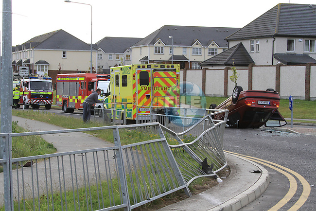The scene of the single vehicle RTC on the Bryanstown cross route. The Driver of the car was removed from the scene by garda..Picture Fran Caffrey/www.newsfile.ie