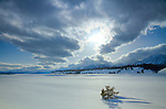 Wyoming, Jackson, Teton National park. Late afternoon on a snow covered landscape in winter along the Teton Range near Jackson.