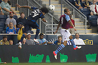Porfirio Lopez of the Philadelphia Union and Gabriel Agbonlahor of Aston Villa during a match between Aston Villa FC and Philadelphia Union at PPL Park in Chester, Pennsylvania, USA on Wednesday July 18, 2012. (photo - Mat Boyle)