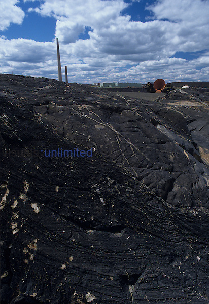 Vegetation killed by nickel smelter fumes, Sudbury, Ontario, Canada.