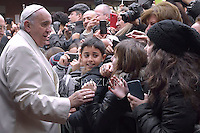 Pope Francis during his pastoral visit  the parish of St. Joseph all'Aurelio Rome.December 14,20 14