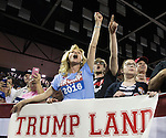 VALDOSTA, GA- FEBRUARY 29: Maree Miller, of Cairo, Ga., reacts to Republican presidential candidate Donald Trump as he speaks to supporters during a rally at Valdosta State University February 29, 2016 in Valdosta, Georgia. On the eve of the Super Tuesday primaries, Trump is enjoying his best national polling numbers of the election cycle, increasing his lead over rivals Sens. Marco Rubio (R-FL) and Ted Cruz (R-TX).  (Photo by Mark Wallheiser/Getty Images)
