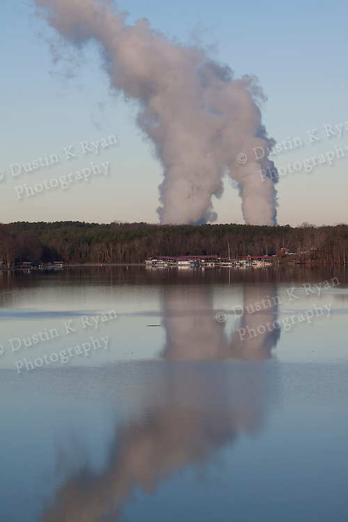 Catawba Nuclear power station steam rising above Lake Wylie South Carolina