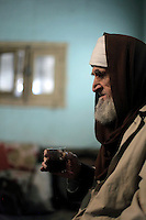 Farmer  Sayed Ahmed  Al Zoghby (89) drinks a cup of tea while expressing his optimism for Egypt following the revolution that saw president Hosni Mubarak ousted from office.
