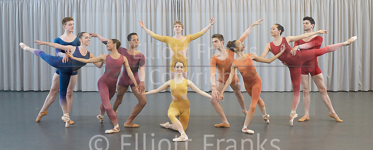 NEBT <br /> New English Ballet Theatre <br /> rehearsing for their forthcoming programme in July at the Cheltenham Festival &amp; Richmond Theatre. <br /> <br /> Rehearsals in London on 23rd April 2015 at the Rambert Dance studio <br /> <br /> pieces included are <br /> &lsquo;Orbital Motion by Valentino Zucchetti<br /> and<br /> Man Women by <br /> Kristen McNally<br /> <br /> Matthieu Quincy, Abigail Mattox, Chlo&eacute; Lopes Gomes, Karen Pilkington-Miksa, Jason Inniss, Niklas Blomqvist, Emma Lucibello, Iv&aacute;n Delgado del R&iacute;o, Arianna Marchiori, Alexandra Cameron-Martin and George Ba&aacute;n.<br /> <br /> <br /> Photograph by Elliott Franks <br /> Image licensed to Elliott Franks Photography Services