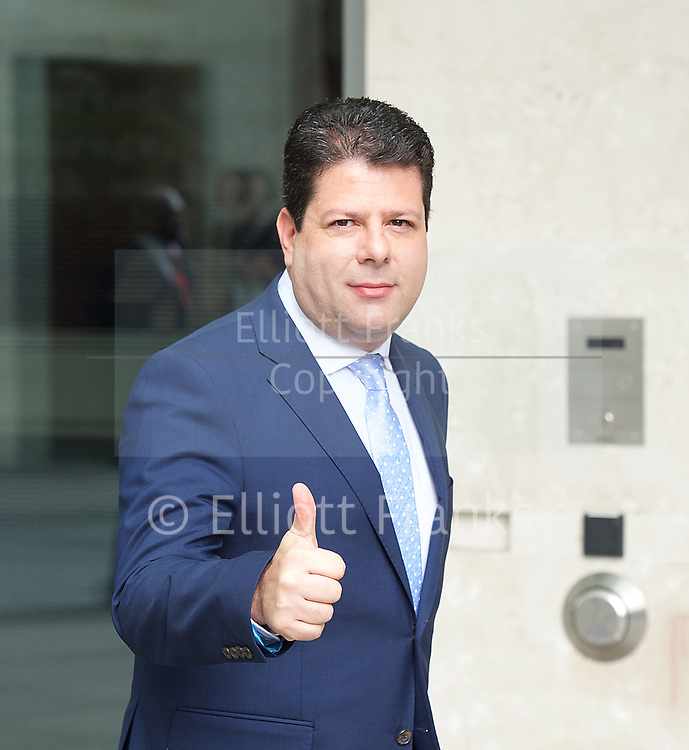 Fabian Picardo, Chief Minster of Gibraltar<br /> BBC, Broadcasting House, London, Great Britain <br /> 2nd April 2017 <br /> <br /> <br /> Fabian Picardo, Chief Minster of Gibraltar<br /> leave the BBC <br /> <br /> <br /> Photograph by Elliott Franks <br /> Image licensed to Elliott Franks Photography Services