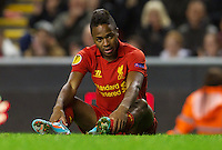 LIVERPOOL, ENGLAND - Thursday, October 4, 2012: Liverpool's Raheem Sterling rues a missed chance against Udinese Calcio during the UEFA Europa League Group A match at Anfield. (Pic by David Rawcliffe/Propaganda)