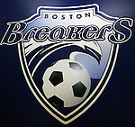 16 January 2009: Boston Breakers logo. The 2009 inaugural Womens Pro Soccer (WPS) Draft was held at the Convention Center in St. Louis, Missouri in conjuction with the National Soccer Coaches Association of America's annual convention.